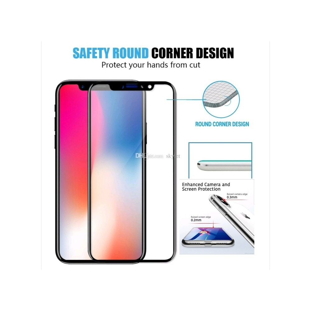 IPHONE X high QUALITY 5D FULL TEMPERED GLASS WITH SOCK PROOF COVER ...