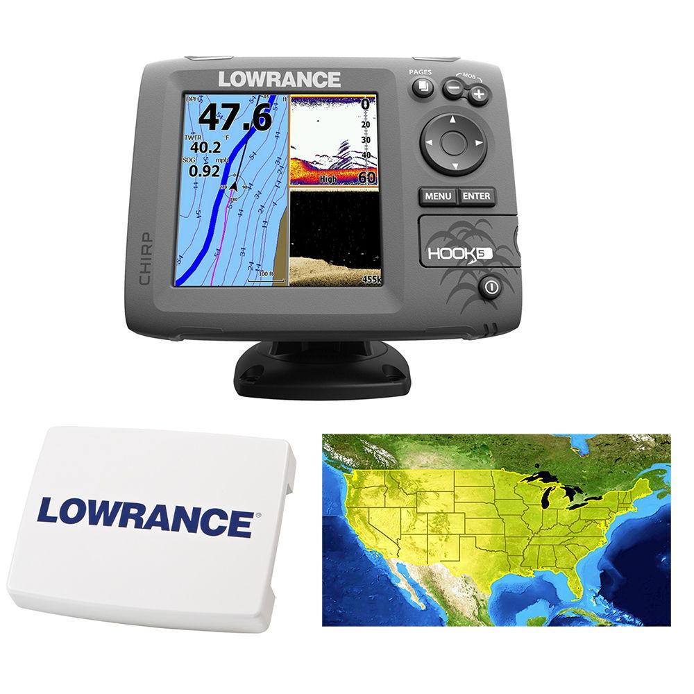 Lowrance hook 5 gps fishfinder transducer includes cover for Fish finder sale