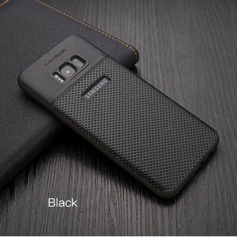 free shipping caaa0 1f393 For Samsung Galaxy S8 Luxury Slim Hybrid TPU Leather Back Case Cover ...