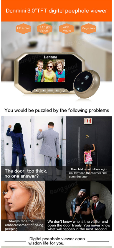 sc 1 st  iBay & 3.5 Inch Digital Viewer Doorbell Peephole Camera Video Record | iBay