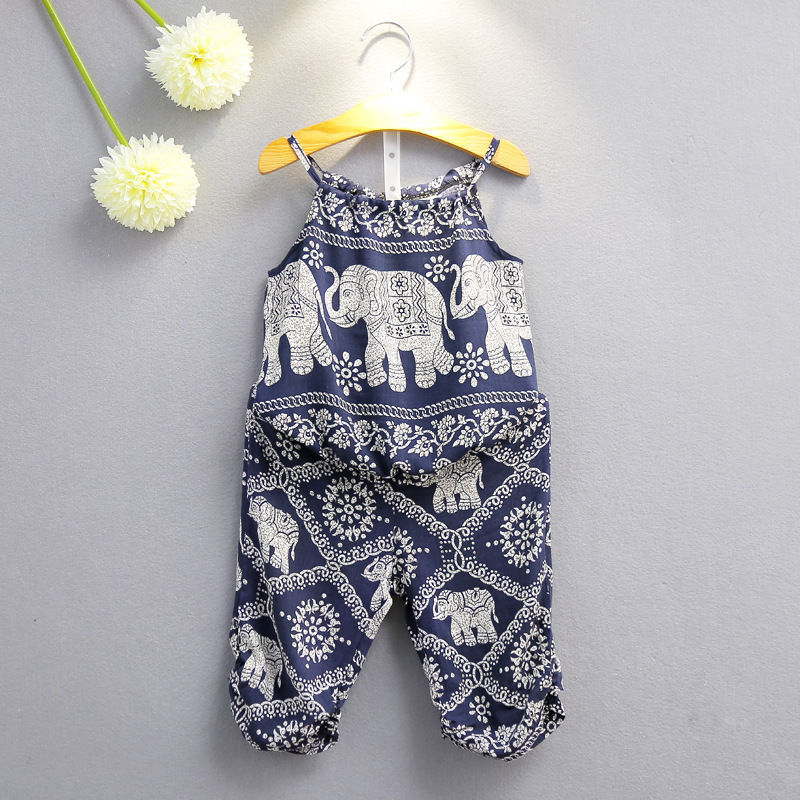 2ba2f7697713 Baby Kids Girls Elephant Vest+Pants Summer Clothes 2PCS Set Suit Outfits