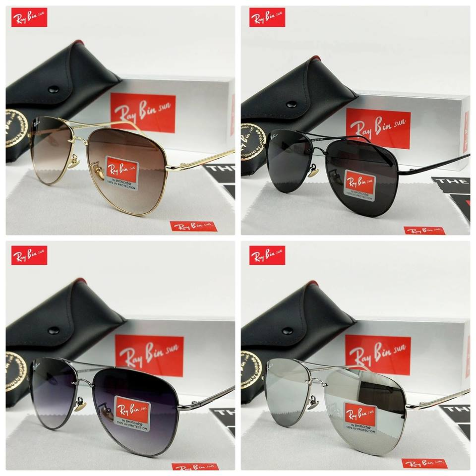 6f2d900460 Ray Bin Men Mirror Lens Vintage Alloy Frame Driving Sun Glasses with boxes