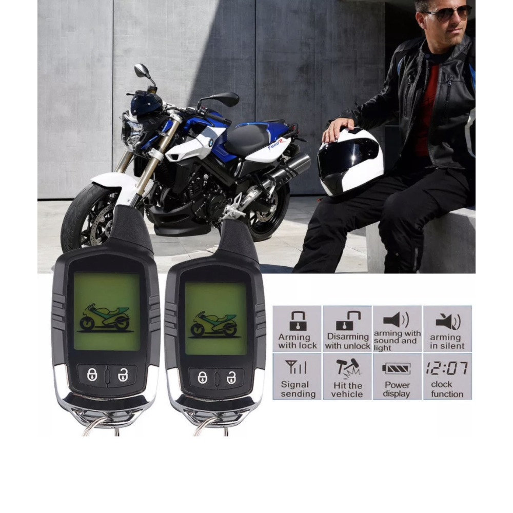 3500M Motorcycle Alarm System Immobiliser 2Way LCD Pager Remote